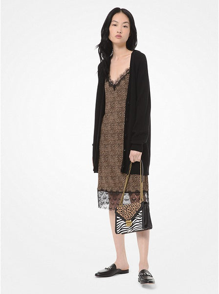 MICHAEL KORS- WOOL AND COTTON BLEND CARDIGAN