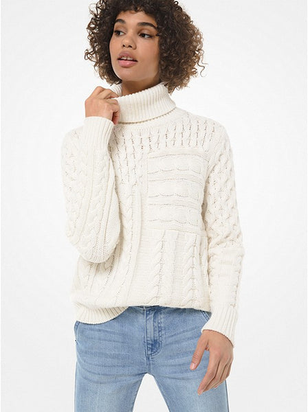 MICHAEL KORS- CABLE WOOL-BLEND TURTLENECK SWEATER