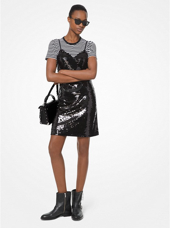 MICHAEL KORS- SEQUINED CREPE JERSEY SLIP DRESS