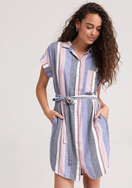 BELLA DAHL- CAPSLEEVE BELTED POCKET DRESS
