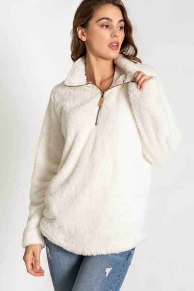 PJ SALVAGE- COZY ZIP LONG SLEEVE PULL-OVER