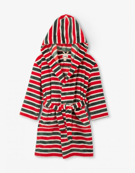 HATLEY- HOLIDAY STRIPE KIDS FLEECE ROBE