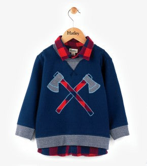 HATLEY- Plaid Lumber and Axes Fooler Sweatshirt