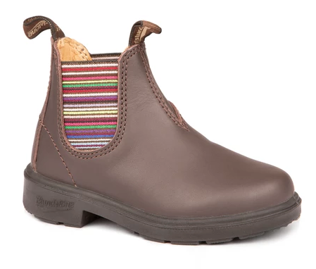 BLUNDSTONE - 1413 KIDS BROWN STRIPED ELASTIC