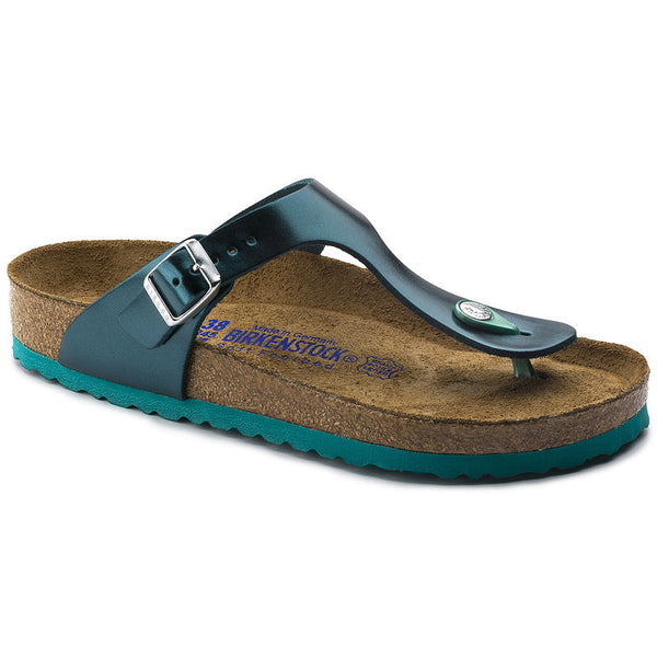 BIRKENSTOCK- WOMEN'S GIZEH NATURAL LEATHER SOFT FOOTBED