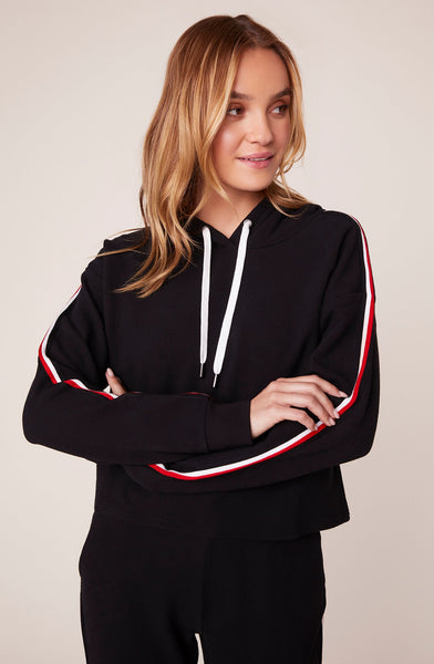 BB DAKOTA- SIDELINES STRIPED TRIM HOODIE