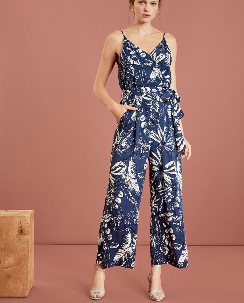 SUNCOO- TATIANA TROPICAL PRINTED BELTED STRIPED JUMPSUIT