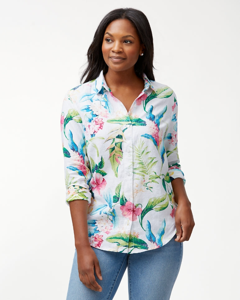 TOMMY BAHAMA- TROPICALIA LONG-SLEEVE LINEN SHIRT