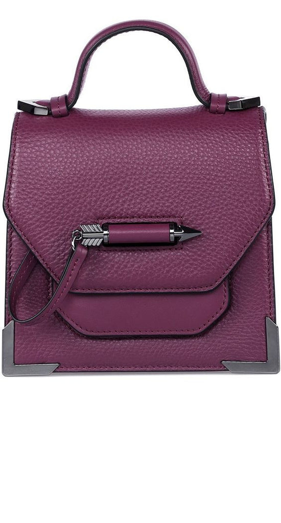 MACKAGE- RUBIE STRUCTURED LEATHER SHOULDER BAG IN BERRY