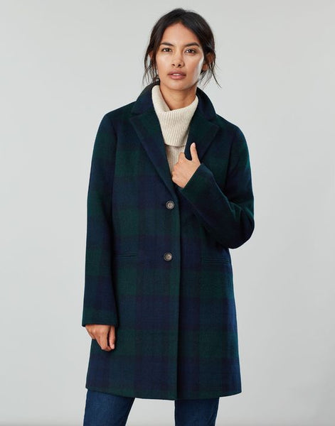 JOULES- COSTELLO CHECK WOOL BLEND COAT