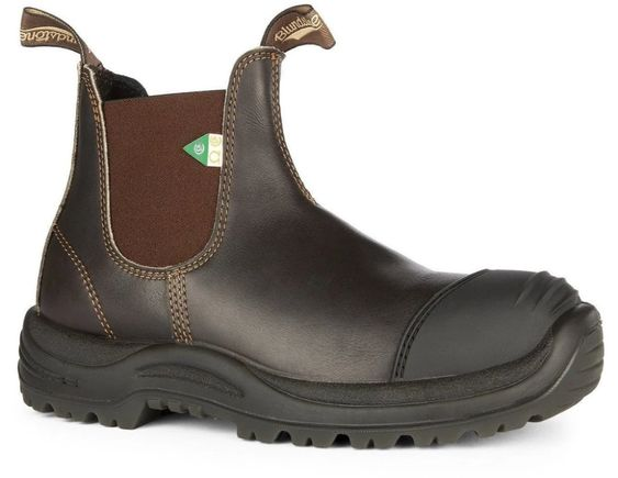 BLUNDSTONE- 167- WORK & SAFETY BOOT RUBBER TOE CAP STOUT BROWN