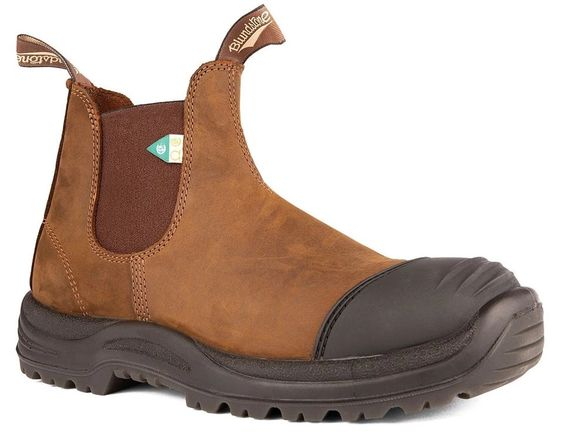 BLUNDSTONE- 169- WORK & SAFETY RUBBER TOE CAP CRAZY HORSE BROWN