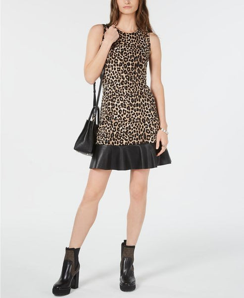 MICHAEL KORS- LEOPARD PRINT CONTRAST-TIER DRESS