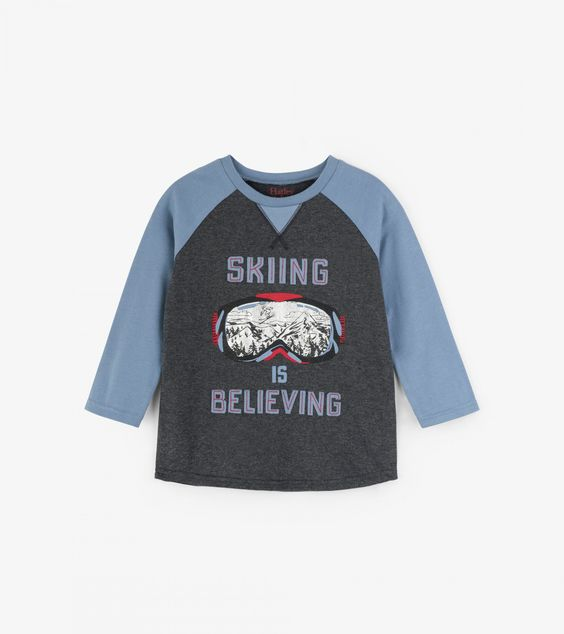 HATLEY- LITTLE BLUE HOUSE- SKIING IS BELIEVING RAGLAN TEE