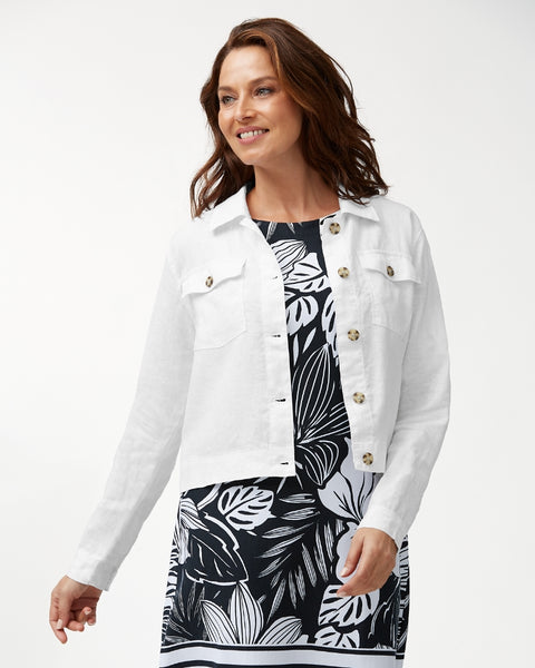 TOMMY BAHAMA- TWO PALMS CROPPED LINEN JACKET