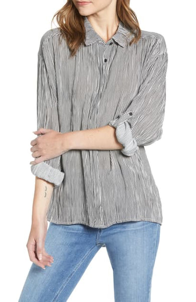 CUPCAKES & CASHMERE- STRIPE SURPLICE BACK OVERSIZED TOP