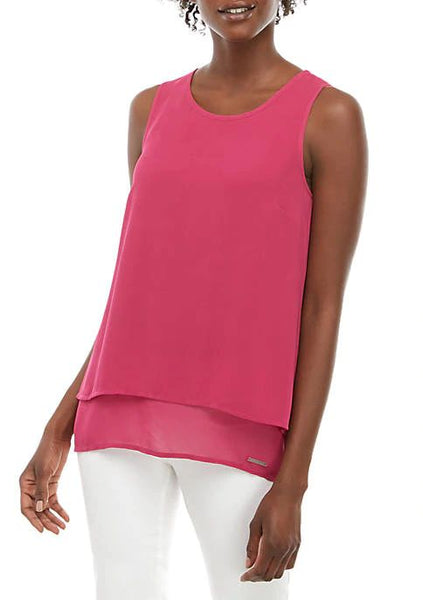 MICHAEL KORS- SLEEVELESS SPLIT-BACK BLOUSE