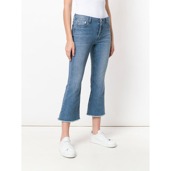 MICHAEL KORS- DENIM CROP FLARED JEANS