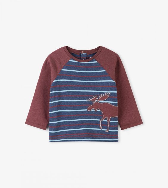 HATLEY- LITTLE BLUE HOUSE- RED MOOSE STRIPE RAGLAN BABY TEE