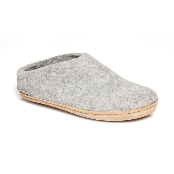 GLERUPS- WOMEN'S SLIPPER with Leather Sole in Grey