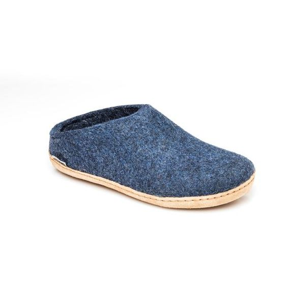 GLERUPS- WOMEN'S SLIPPER with Leather Sole in Denim