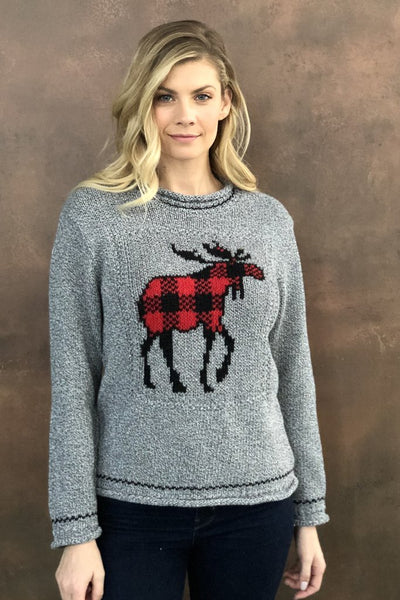 COTTON COUNTRY- MOOSE CHECK PULLOVER