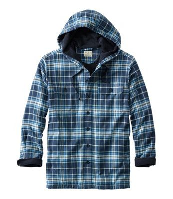 L.L.BEAN- FLEECE-LINED FLANNEL SHIRT, TRADITIONAL FIT HOODIE