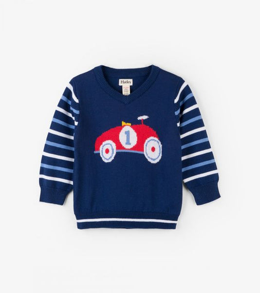 HATLEY- LITTLE BLUE HOUSE- RACE CAR V-NECK BABY SWEATER