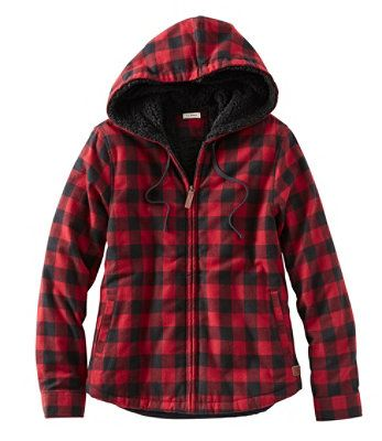 L.L.BEAN- SCOTCH PLAID FLANNEL SHIRT, SHERPA-LINED ZIP HOODIE