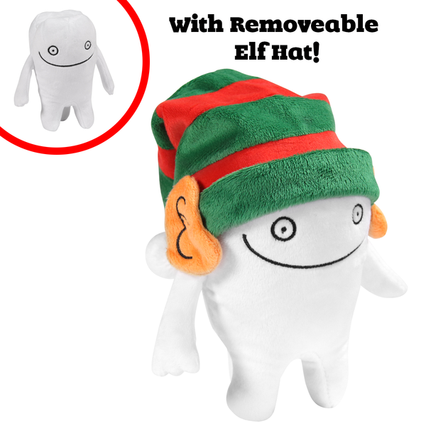Holiday Edition Tooth Plushie with removable Elf hat