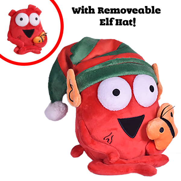 Holiday Edition Heart and Butterfly Plushie with removable Elf hat