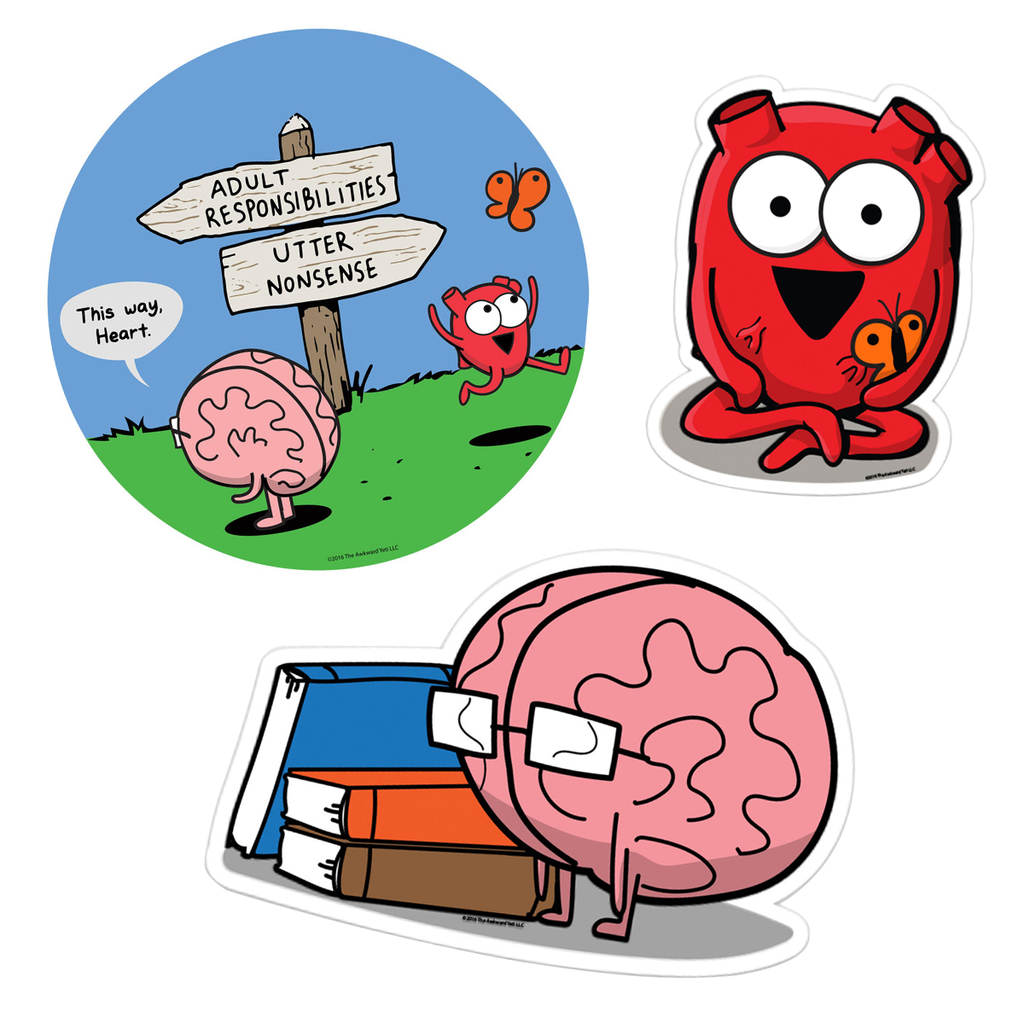 Heart and Brain Sticker Set