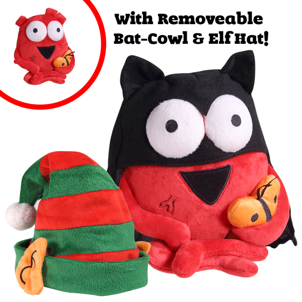 "Holiday Special Edition Heart Plushie with removable Elf hat & ""Bat Heart"" Cape and Cowl"