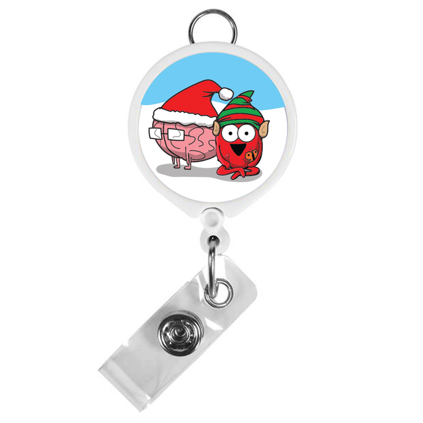 Holiday Heart and Brain ID Badge Reel