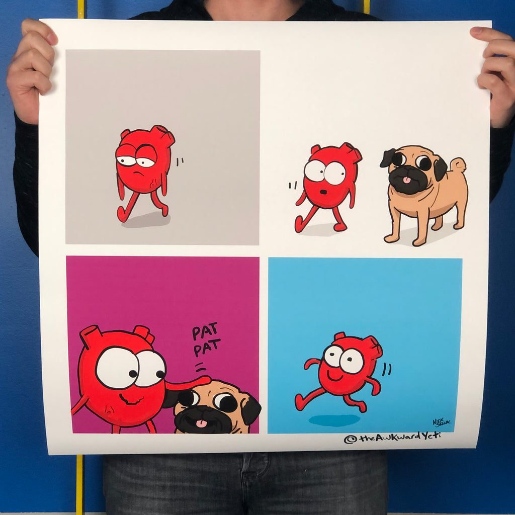 """Heart Plus Dog - Pug Edition"" Print"