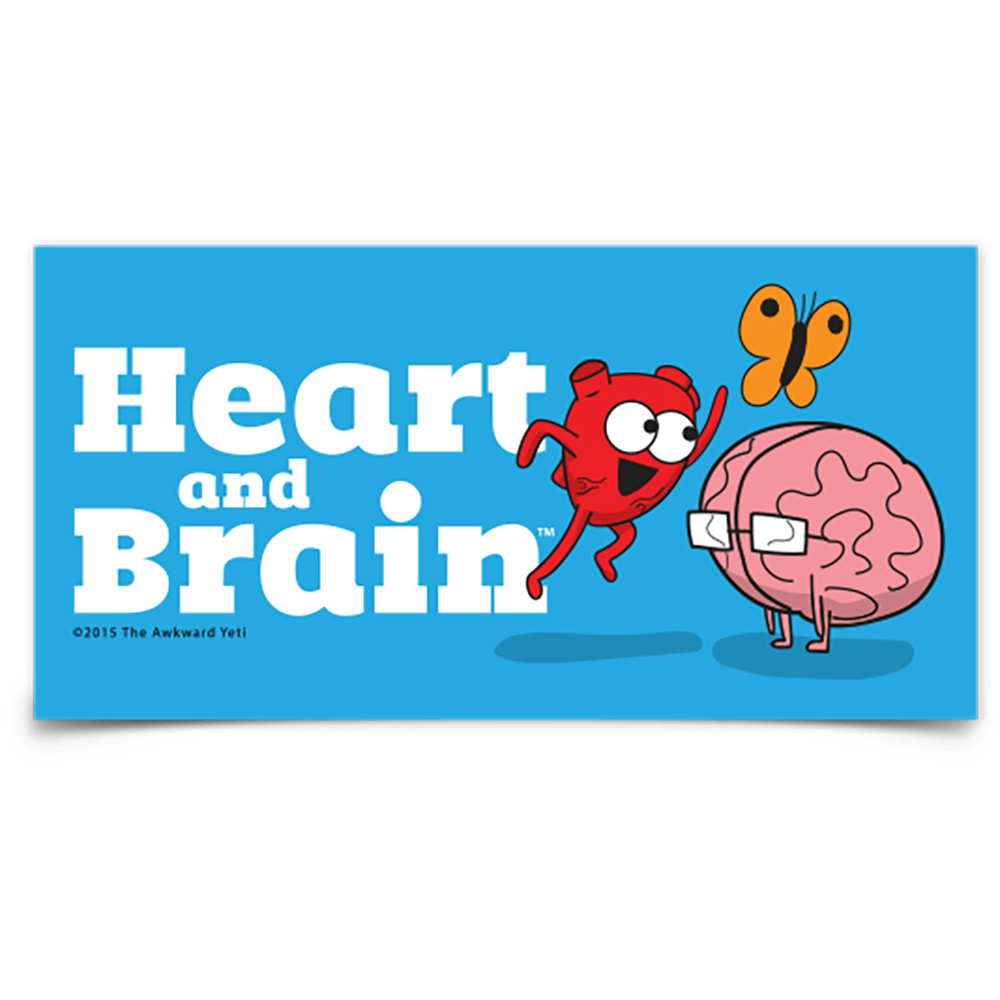 Heart and Brain Bumper Sticker