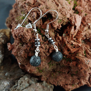 Lava and Hematite Dangle Earrings