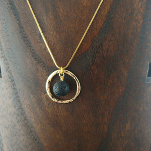 Golden Circle Necklace with Lava Rock