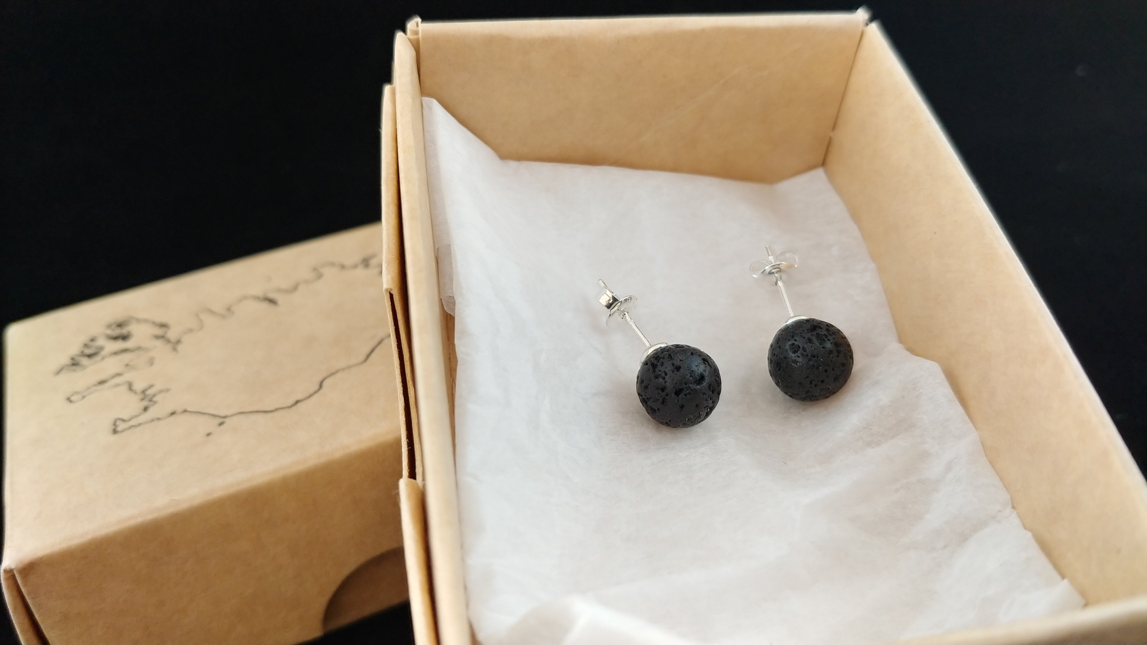 Lava Stud Earrings with Sterling Silver - Icelandic Lava Design