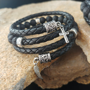 Wrapped leather bracelets with Lava and Charms