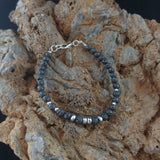 Dainty Lava Bracelet with small Lava Rock and Hematite beads
