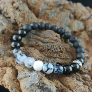 Unisex Onyx and Lava Bracelet with Bluish-Gray Agate Beads