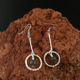 Long Silver Lava Circle Earrings