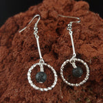 Load image into Gallery viewer, Long Silver Lava Circle Earrings