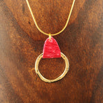 Load image into Gallery viewer, Red Salmon Leather Golden Circle Necklace - Icelandic Fish Leather Jewelry - Handmade in Iceland