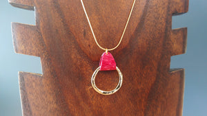 Red Salmon Leather Golden Circle Necklace - Icelandic Fish Leather Jewelry - Handmade in Iceland