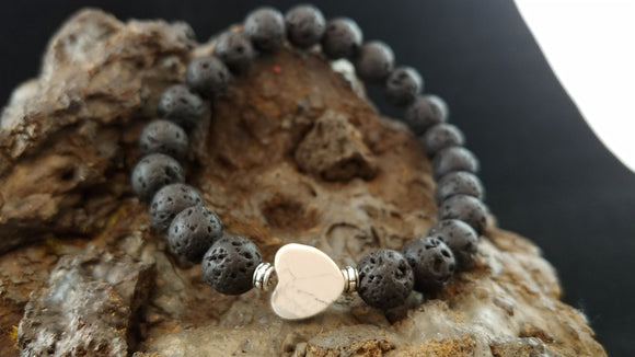 Lava Rock Bracelet with a Heart shaped Howlite on top
