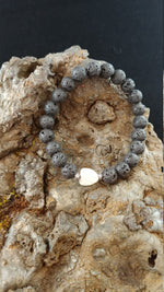 Load image into Gallery viewer, Lava Rock Howlite Heart Bracelet