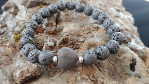 Lava Rock Bracelet with Lava Heart
