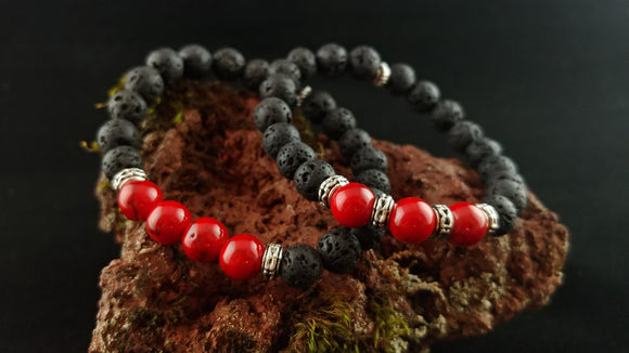 Volcano Fire Bracelet - Handmade Lava Bracelet with Dyed Turquoise Red Gemstone Beads - Handmade in Iceland